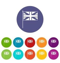 Uk flag set icons vector