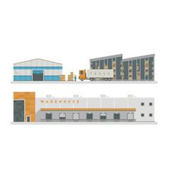 Warehouse logistic buildings vector