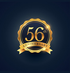 56th anniversary celebration badge label in vector image
