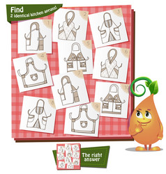 Game children 2 identical aprons vector