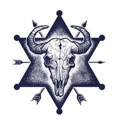 buffalo skull sketch vector image