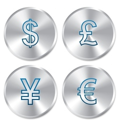 Metallic money buttons template set vector