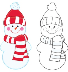 Snowman coloring book vector