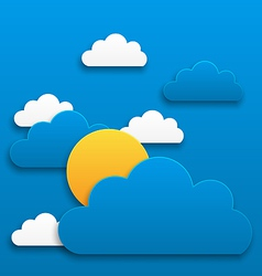 Paper sun with clouds abstract summer background vector