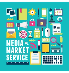Flat concept of media market service vector