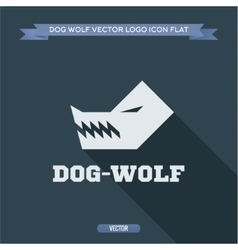 Wolf dog angry silhouette with fangs aggressive vector