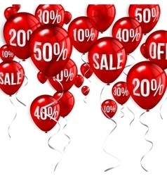 Flying party balloons with text sale and discount vector