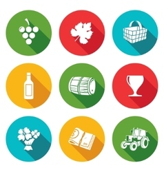 Wine production icons set vector