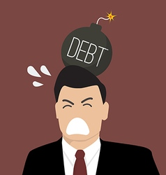 Businessman with debt bomb on his head vector image