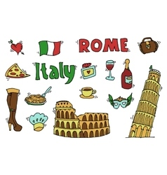 Italy doodle set vector