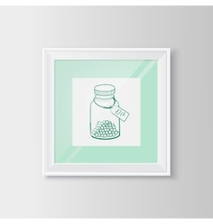 Drugs bottle sketch in a frame vector