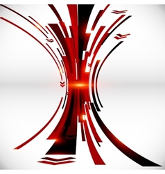 Abstract black and red perspective techno vector image