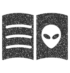Alien face book grainy texture icon vector