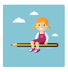 Blonde girl flying in a pencil through the sky vector