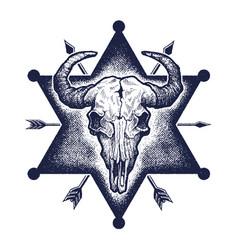 Buffalo skull sketch vector