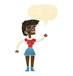 Cartoon woman in spectacles waving with speech vector