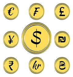 Coins with Currency Symbols vector image