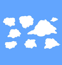 different types of white clouds on a blue vector image vector image
