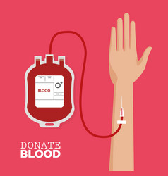 Donate blood hand with tube vector
