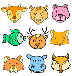 Doodle hand draw animal head colorful vector
