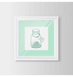 Drugs bottle sketch in a frame vector