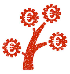 Euro technology tree icon grunge watermark vector