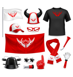 Fan buff gear accessories realistic set vector