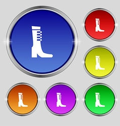 Female fall and winter shoe boot icon sign round vector