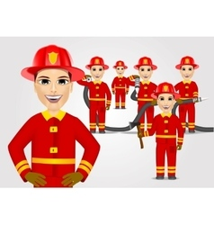 firefighters in uniform with fire hose vector image