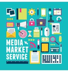 Flat concept of media market service vector