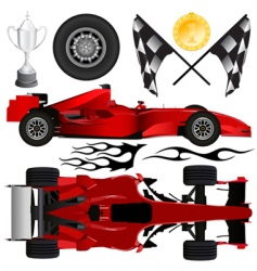 formula car and objects vector image vector image
