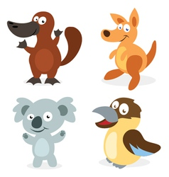 Four cartoon australian animals vector