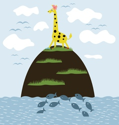 Giraffe on the island vector image vector image