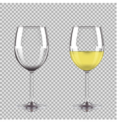 glass of white wine and empty glass vector image vector image