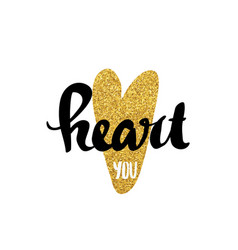 heart gold lettering for poster vector image