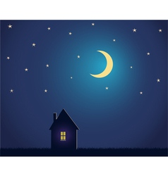 House and night sky with stars and moon vector