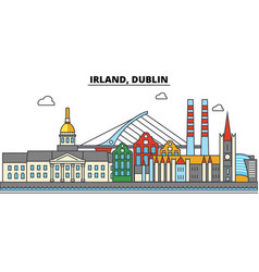Irland dublin city skyline architecture vector