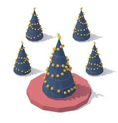 isometric low poly christmas tree vector image vector image