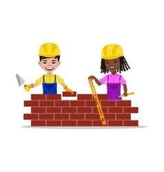 Kids builders characters vector