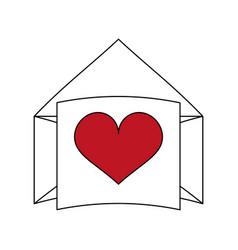 Letter heart flat vector