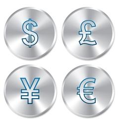 Metallic money buttons template set vector image