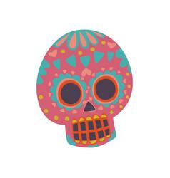 mexican sugar skull with pattern dia de muertos vector image