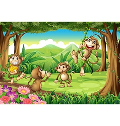 Monkeys playing vector image vector image