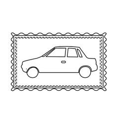 Monochrome contour frame of automobile vector