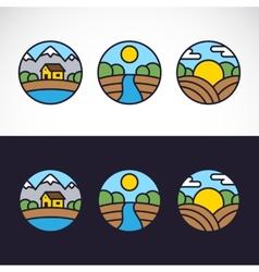 Nature landscape logo template set vector