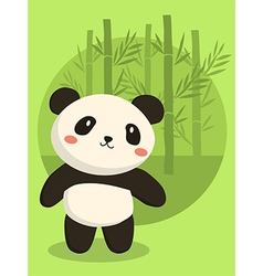 Panda bear green bamboo vector