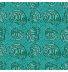 Seamless background seashells vector image