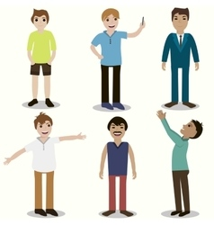 Set of guys different nationality appearance vector