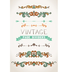 Set of vintage page decorations and dividers vector