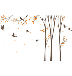 Silhouette of birds with tree and birdcage vector